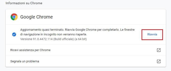 riavvia google