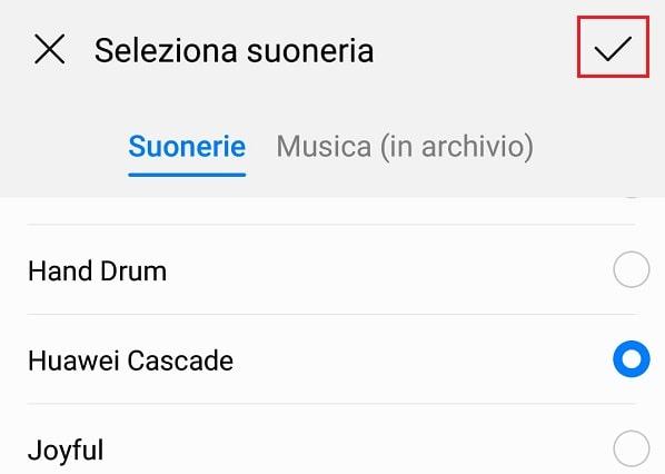 selezionare suono