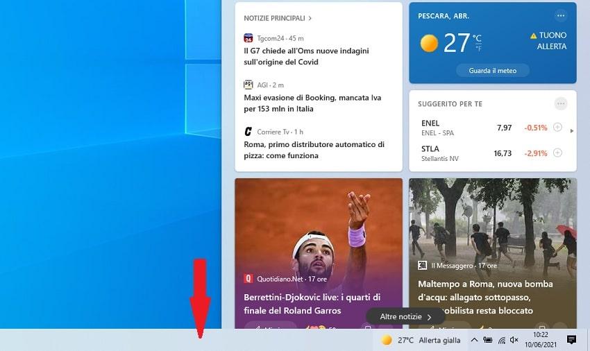 barra delle applicazioni di windows 10