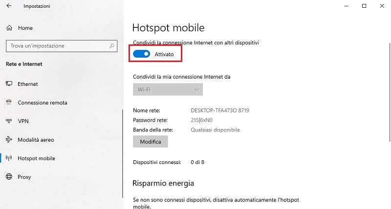 condivisione internet wifi