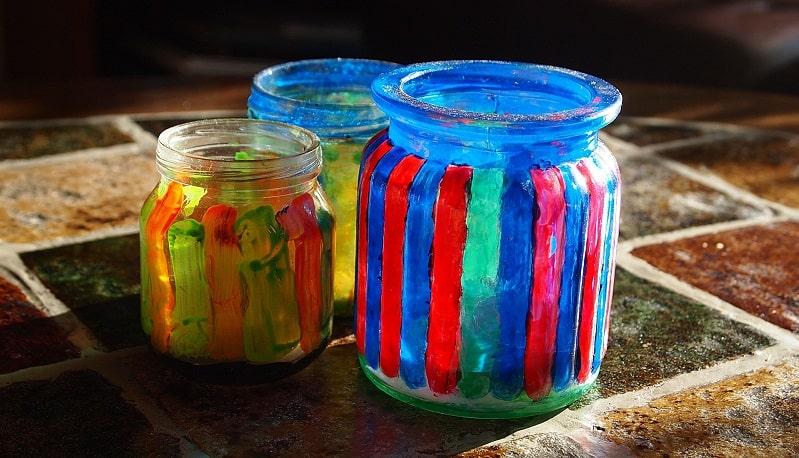decorare barattoli di vetro