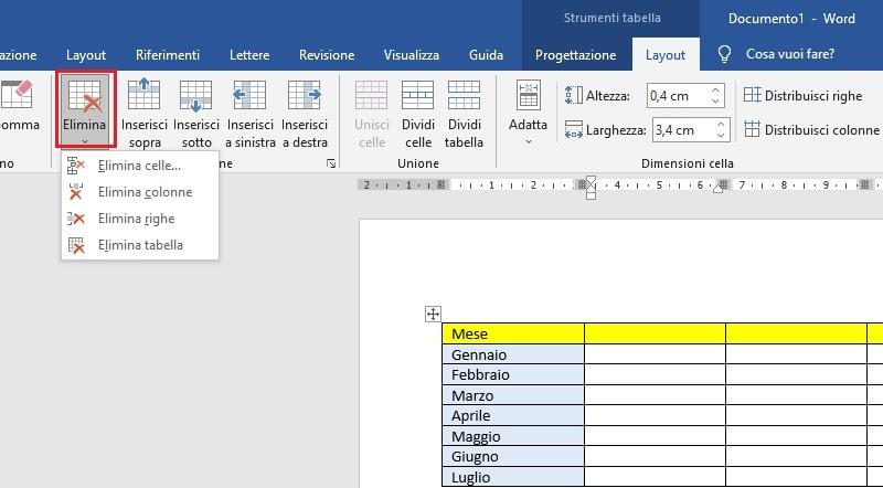 eliminare colonne dalla tabella microsoft word