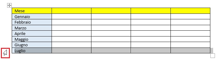 selezionare intera riga tabella word
