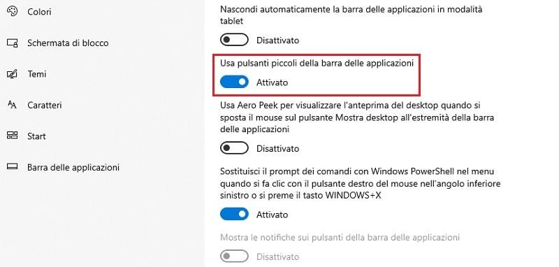icone piccole della barra delle applicazioni