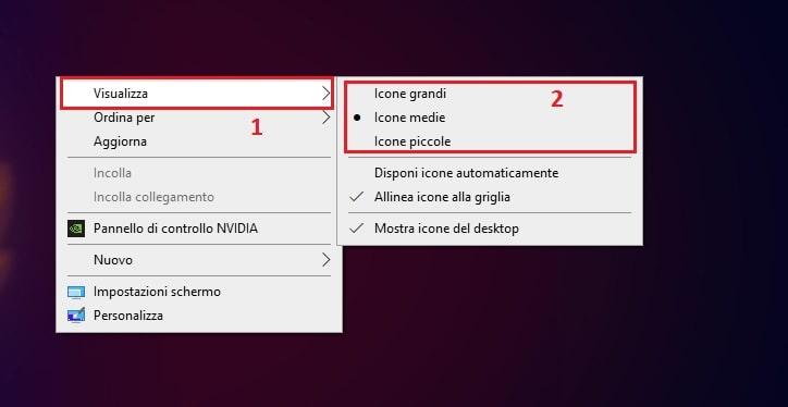 dimensione icone del desktop di windows
