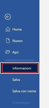 menu file informazioni word