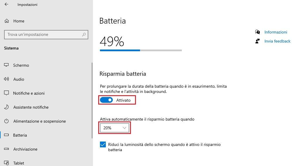 risparmio energetico della batteria del notebook